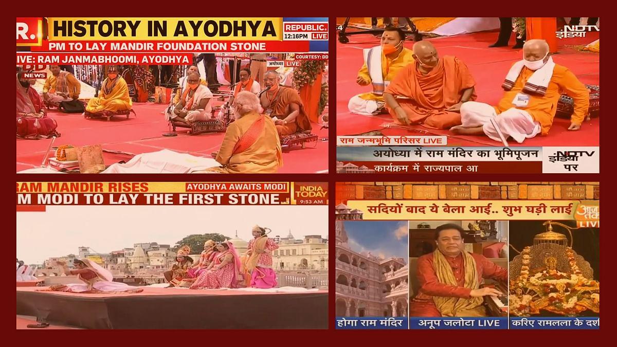 #RamMandirBhoomiPujan: TV news anchors bow to Lord Modi