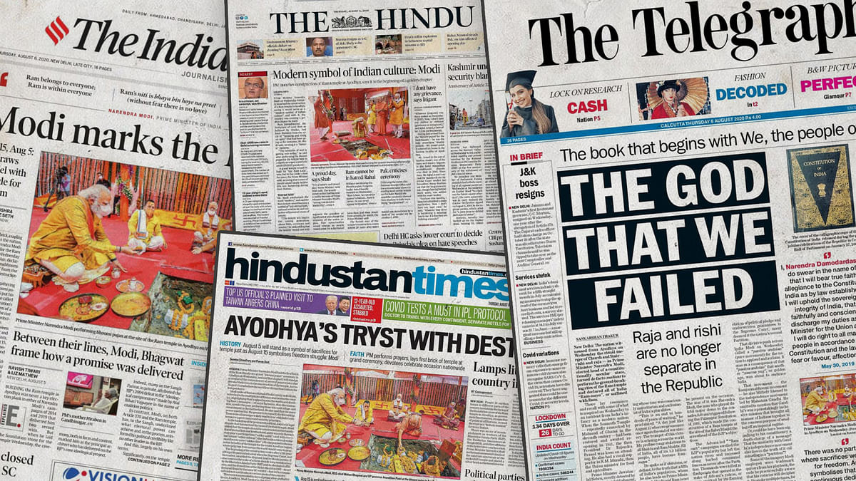 'Tryst with destiny' to 'the God we failed': How major newspapers covered #RamMandirBhoomiPujan