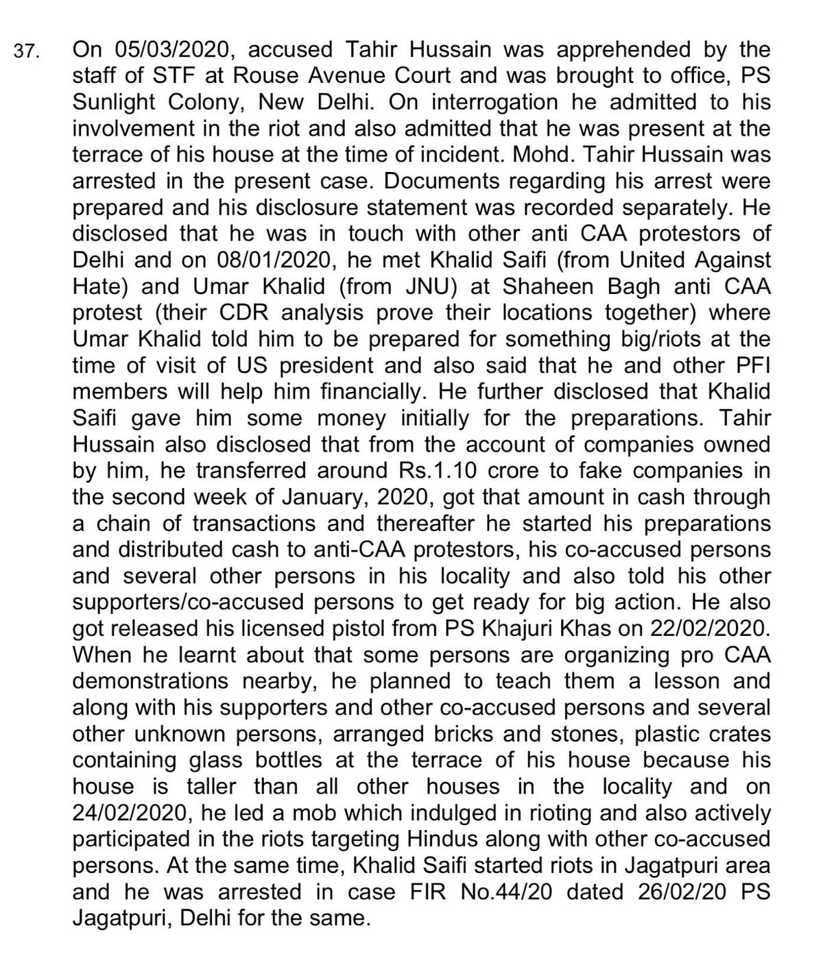 Paragraph 37 from chargesheet 101/20 that was filed in early June.