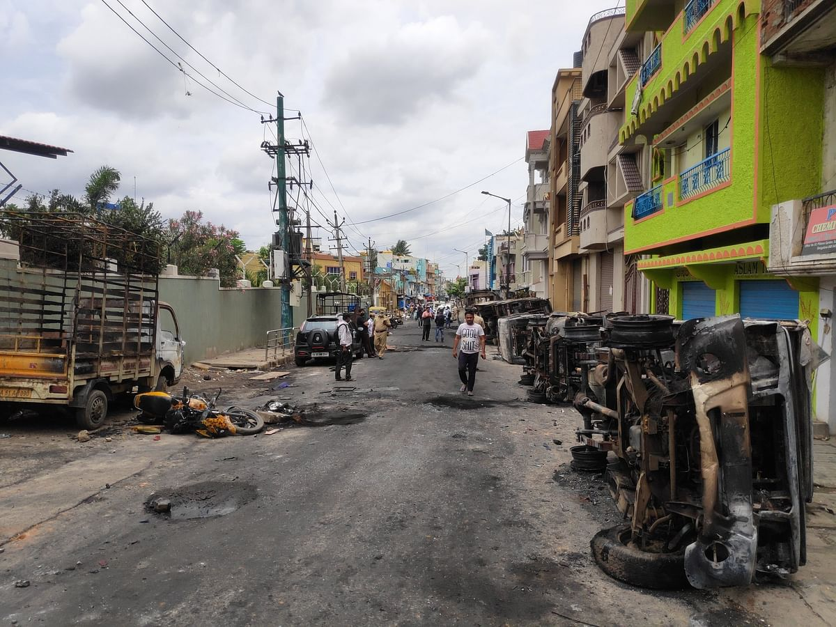 The scene of the mob violence near DJ Halli Police Station the day after the riots.