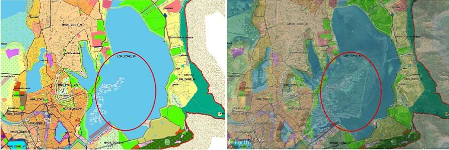 Map 2: The upper portion of the Dal as marked in the Srinagar Master Plan 2035 and how it appears when overlaid with the Google Earth image above.