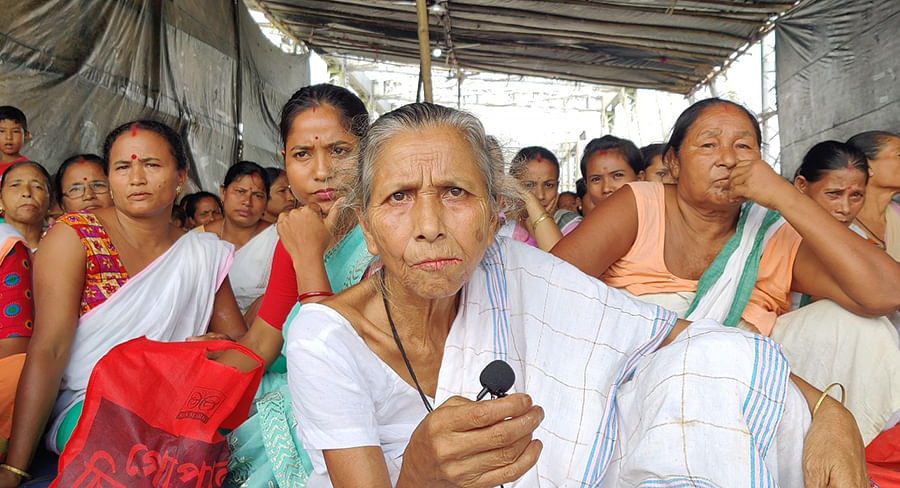 Protibha Neog voices the concerns of the people of Natun Gaon.