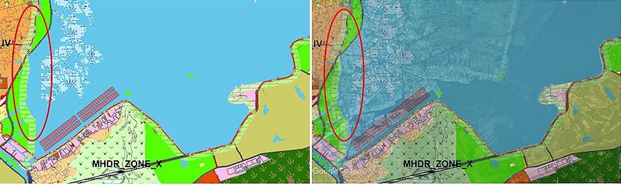 Top: A zoomed in version of Map 1 shows the existing Dal lake settlements. Bottom: A zoomed in version of Map 2 shows no settlements in the same area as per the Srinagar Master Plan 2035.