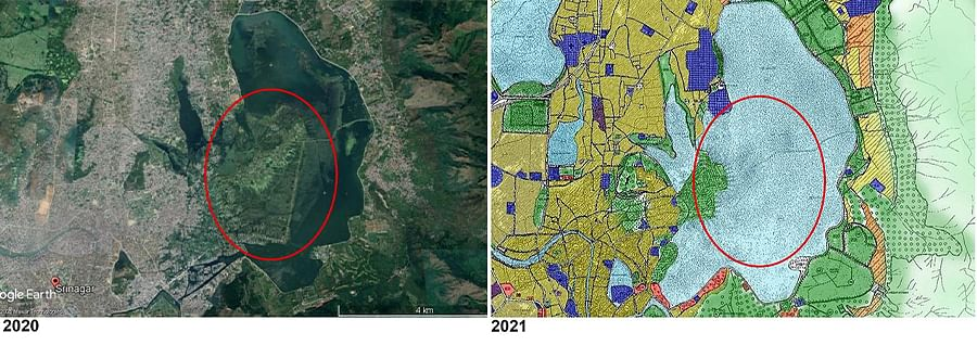 Map 1: A Google Earth image of the upper portion of the Dal lake in 2020 and the same portion as marked in Master Plan 2021.