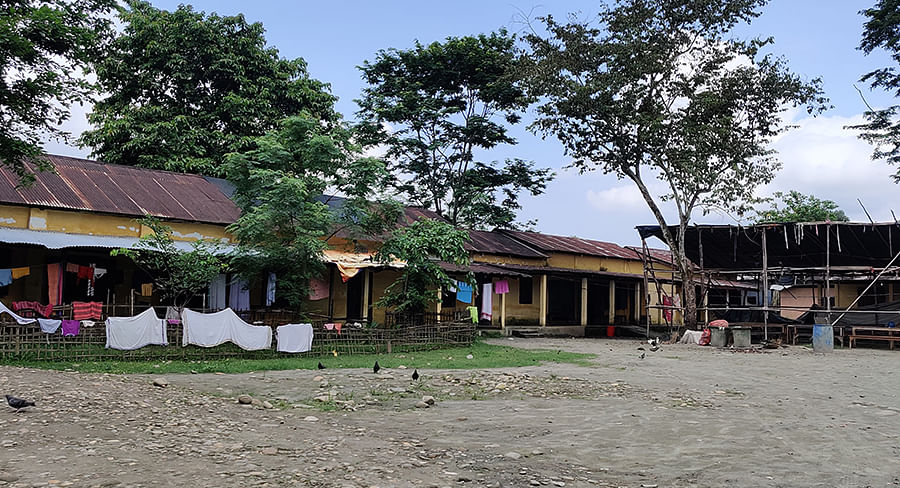Guijan High School, one of two temporary relief camps for a total of 3,000 people.