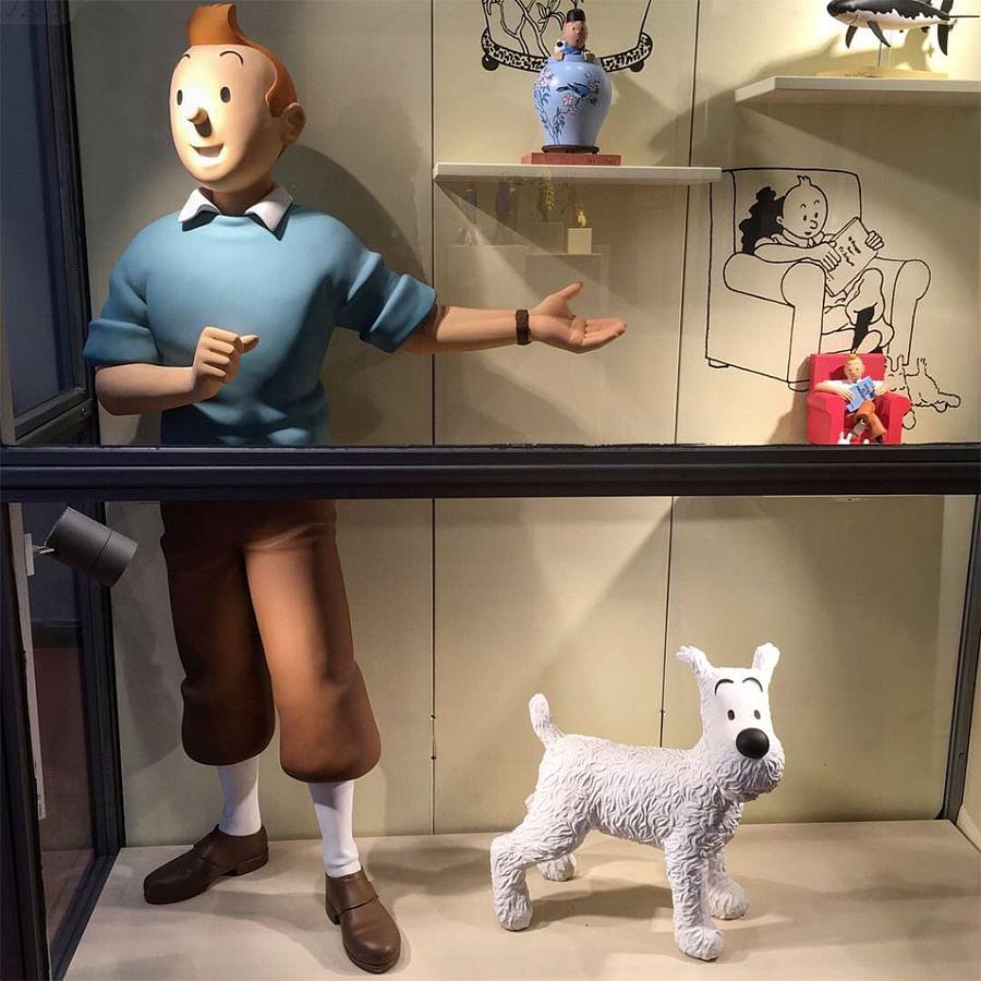 A shop window at La Boutique Tintin.