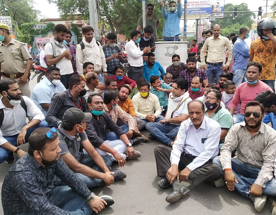 Journalists in Kanpur protesting against the assault on Devesh Tyagi.