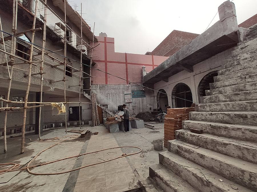 Farooqia Masjid, sacked during the carnage, is being repaired.