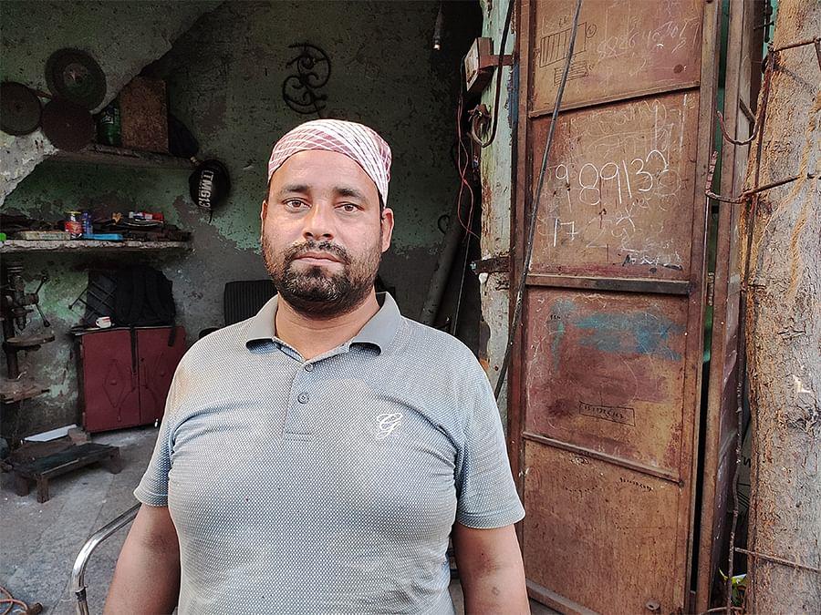 Zakir's brother Gulfam Ahmed runs a welding shop in Brijpuri.