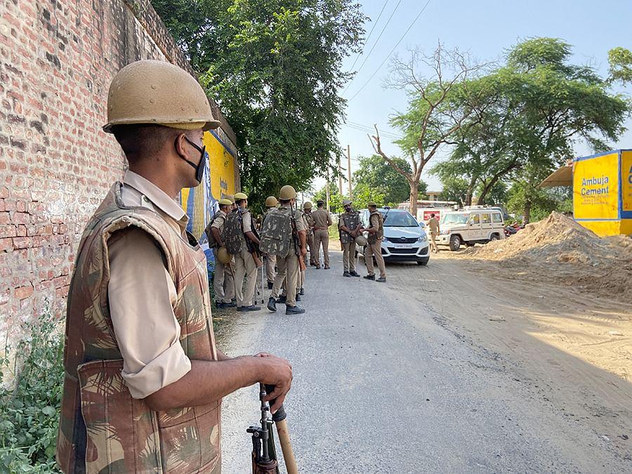Police presence in the village.