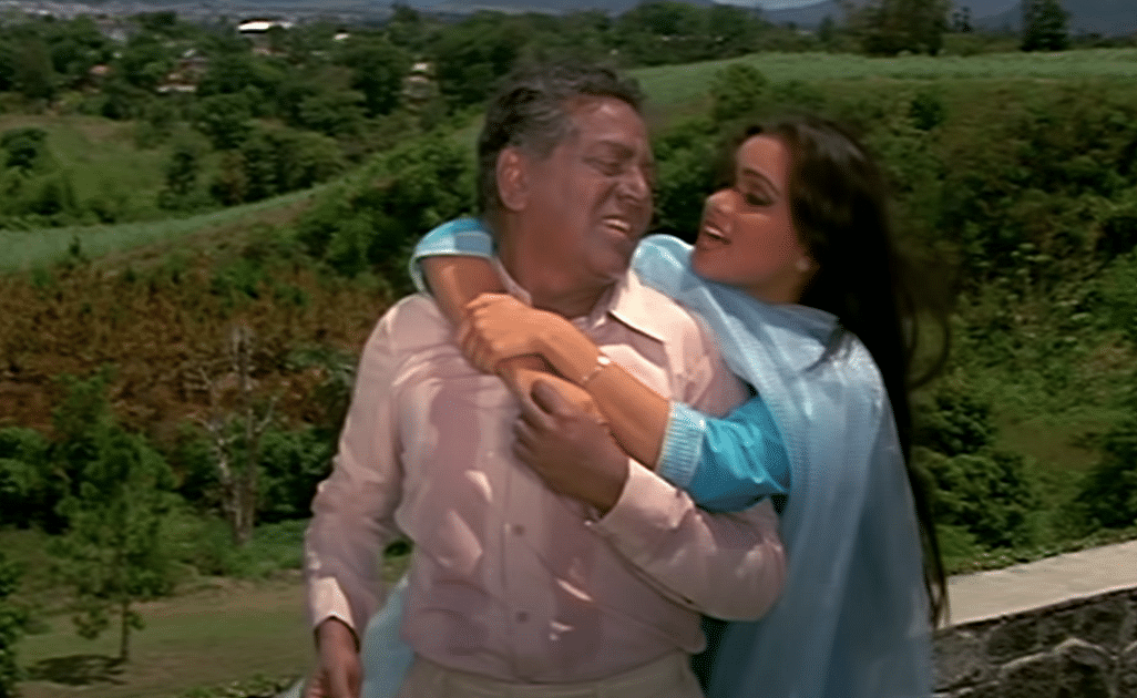 Padmini Kolhapure with a blackfaced Shriram Lagoo in Saawan Kumar Tak's Souten.