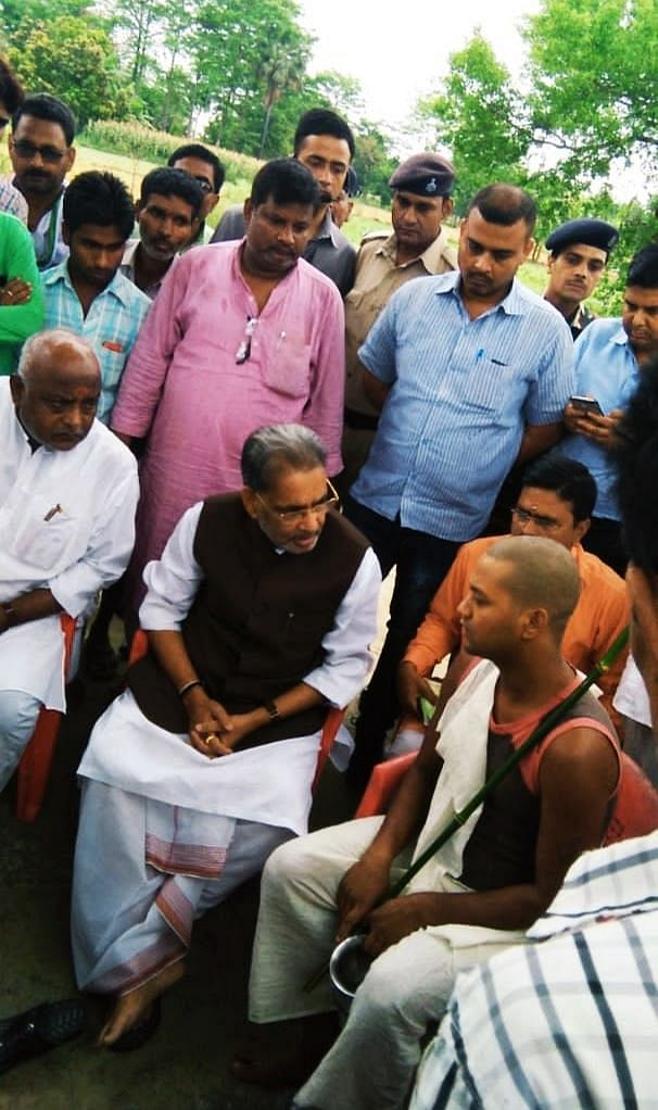 Former agriculture minister, Radhamohan Singh, with Brijesh.