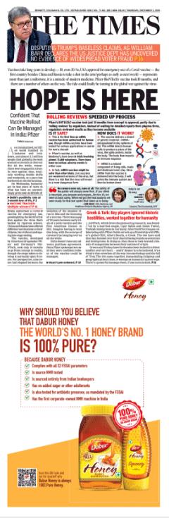 The Dabur Honey ad in TOI.