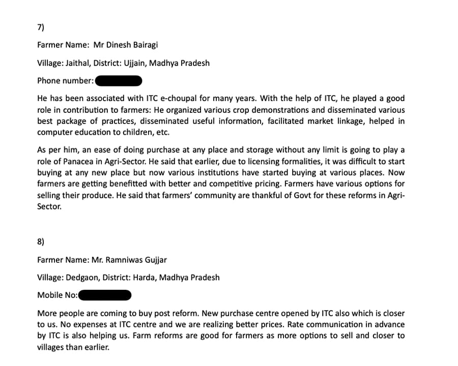 A screenshot from the 'Farmer Feedback' document sent to journalists by S Satyanarayanan.