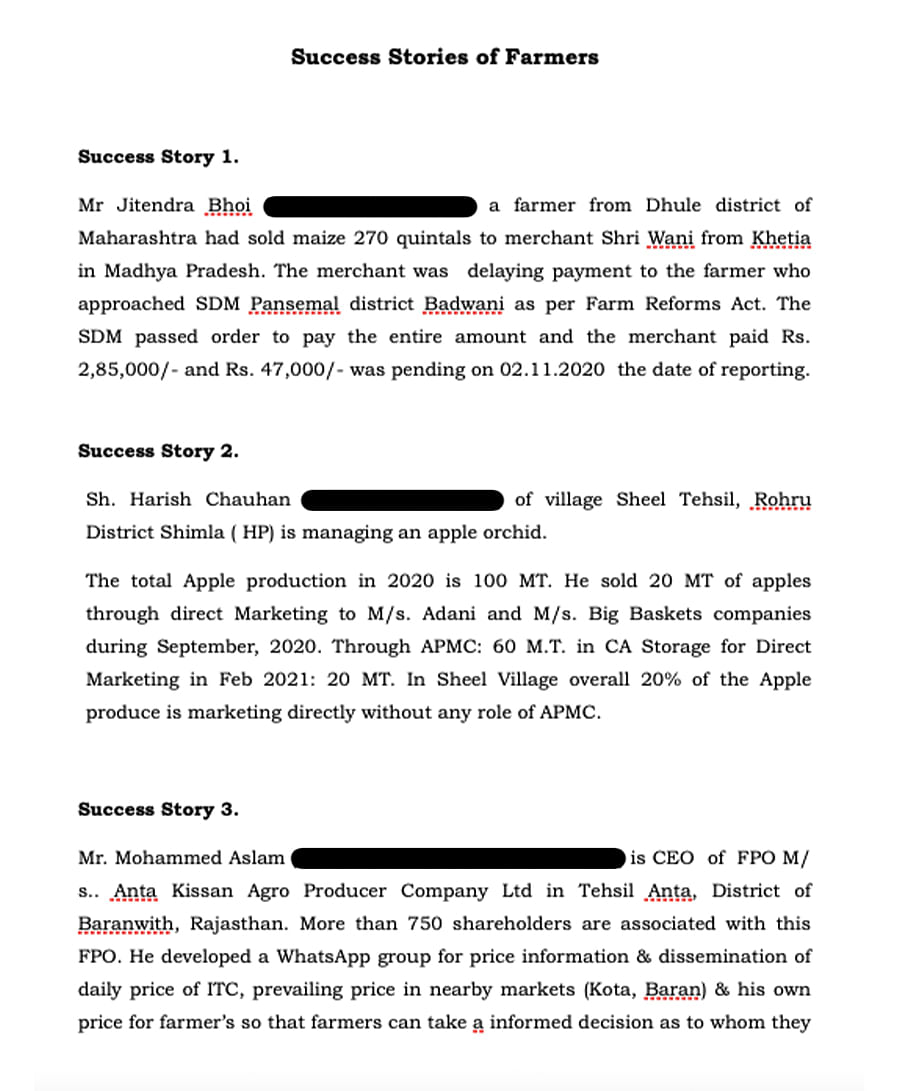 A screenshot from the 'success stories' document sent to journalists by  S Satyanarayanan.