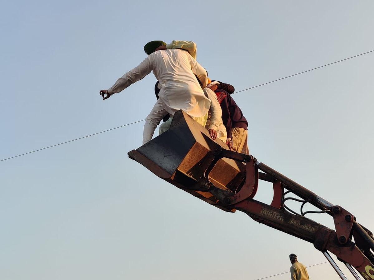 सिंघु बॉर्डर पर किसान