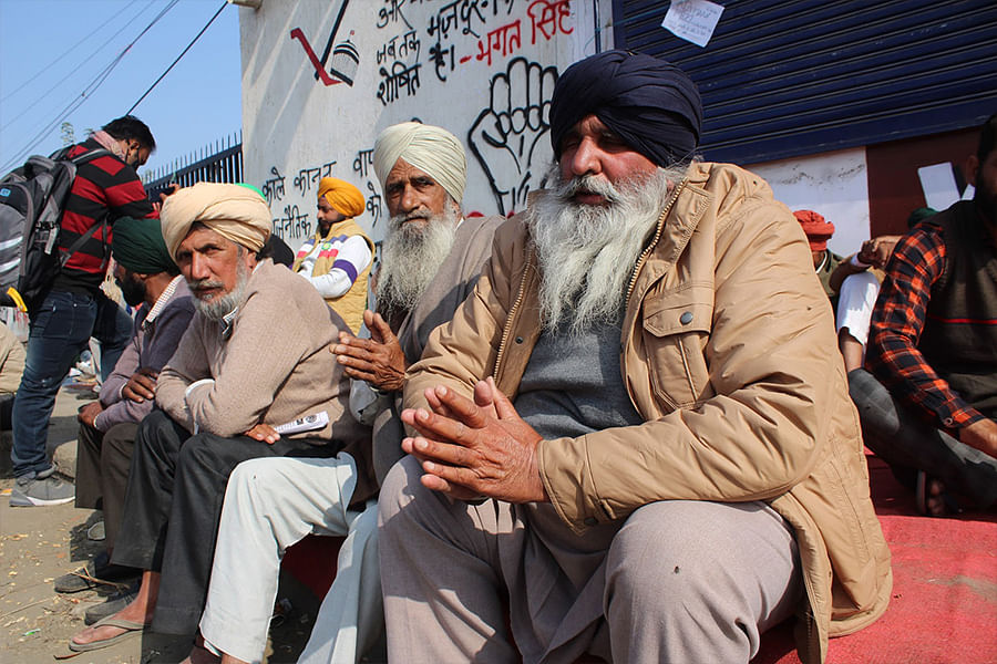 Protesters at the Singhu border on Monday.