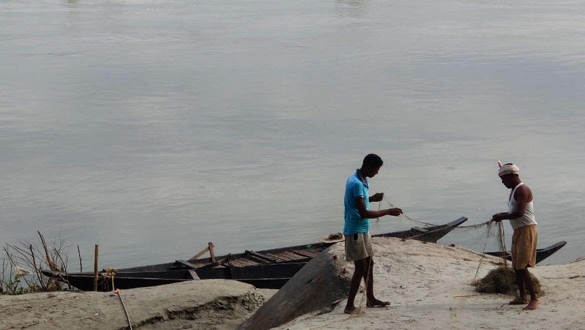 Fishermen at Biswanath Ghat Puroni.