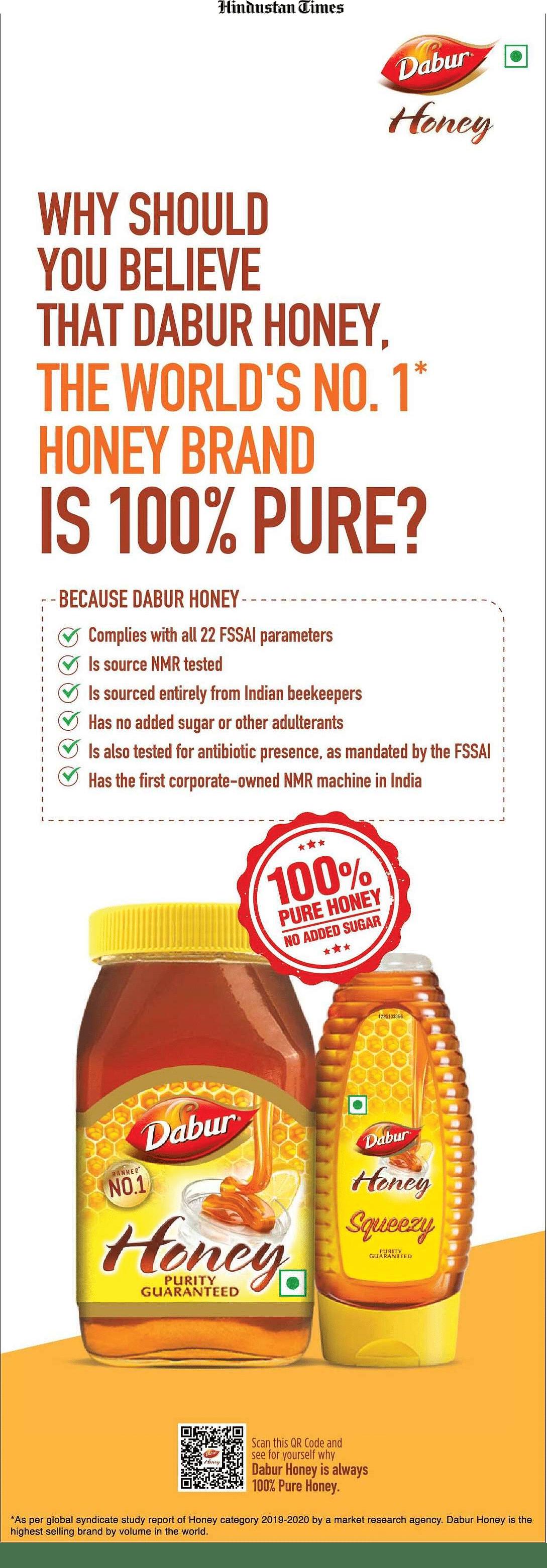 The Dabur Honey ad on HT's flap.