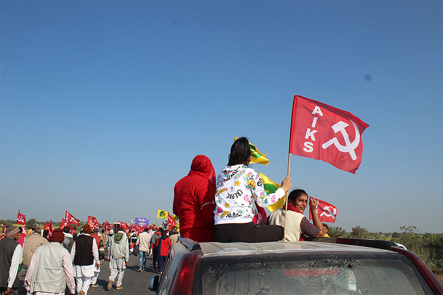 The protesters on the Delhi-Jaipur highway.