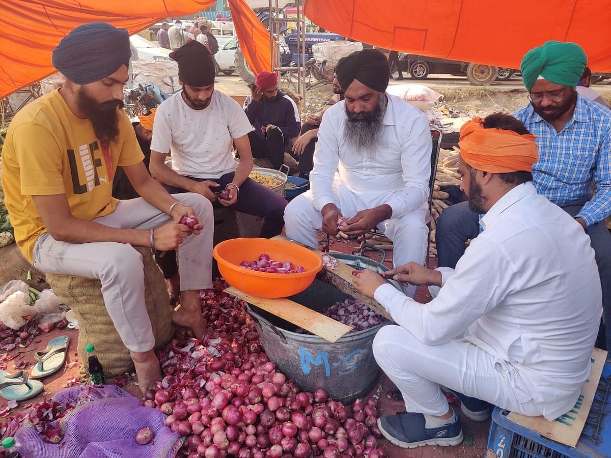 बीच में अन्य किसानों के साथ प्याज काटते चतर सिंह