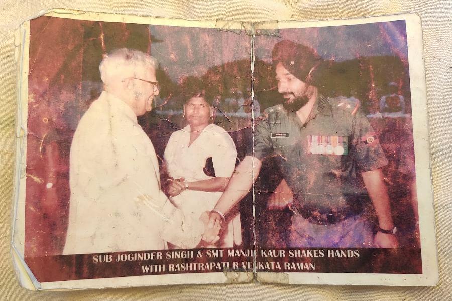 Joginder Singh with President R Venkataraman in 1988.