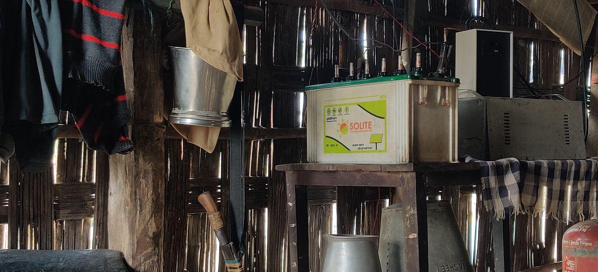 The solar energy box in Ramakanto's home.