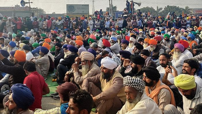 Protesting farmers at Singhu on the Delhi border.