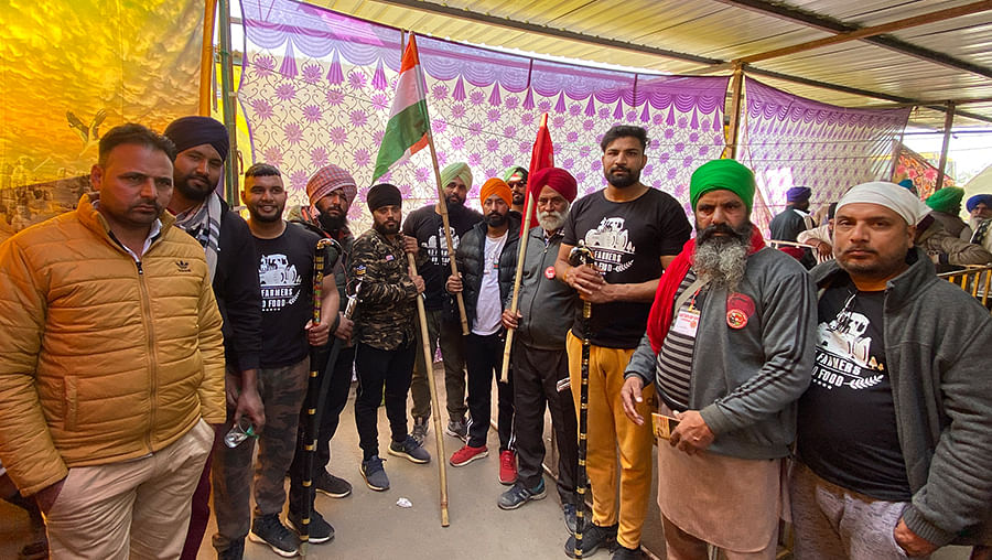 Sukhvir Singh with fellow protesters at Singhu.