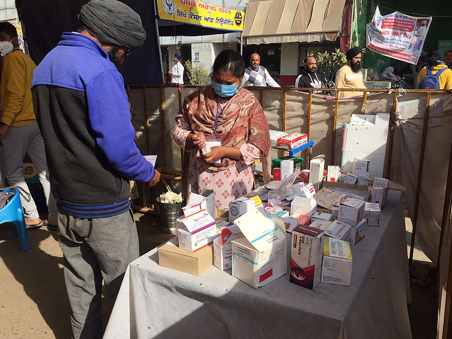 Free medicines being distributed at protest.