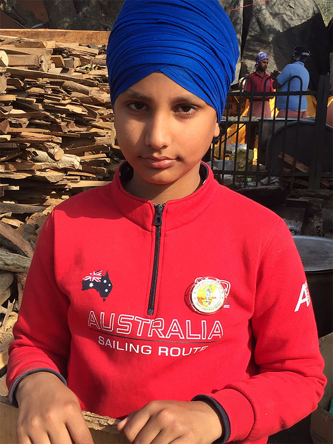 Mehtab Singh, 9, from Amritsar is at Singhu with his family.