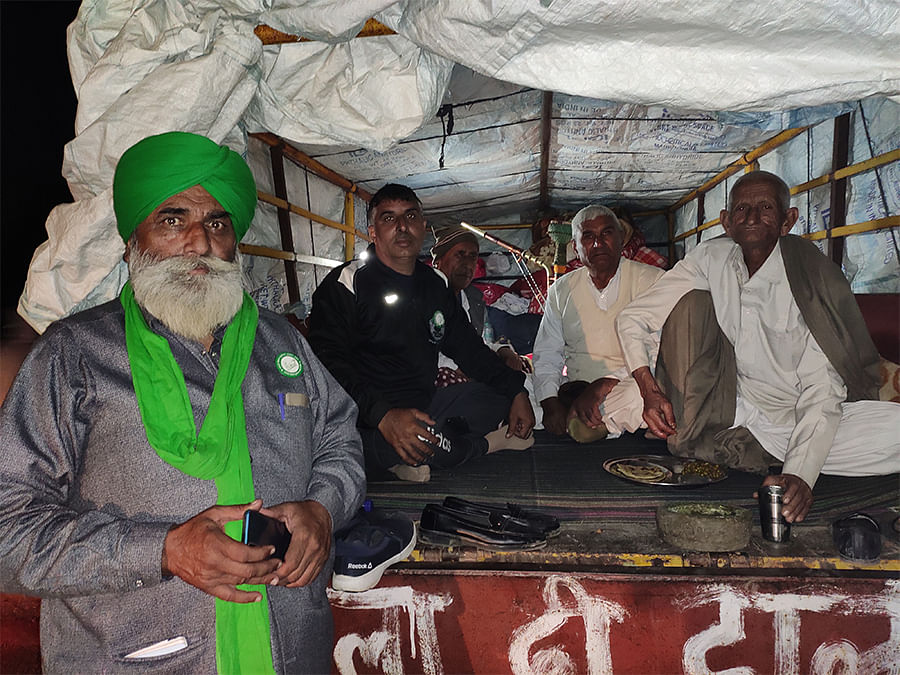 Manjit Singh Dhaner with fellow protesters at Tikri border.