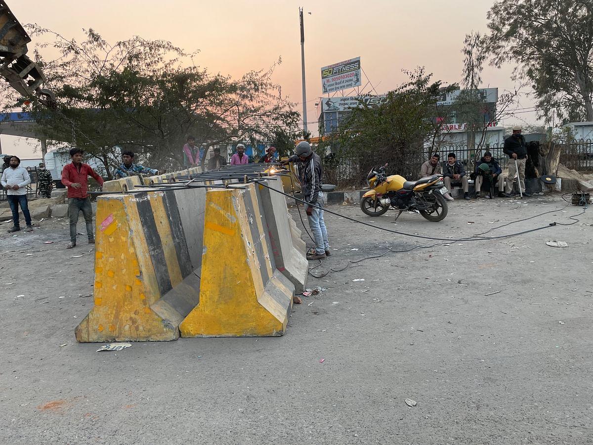 Barricades at Singhu border.