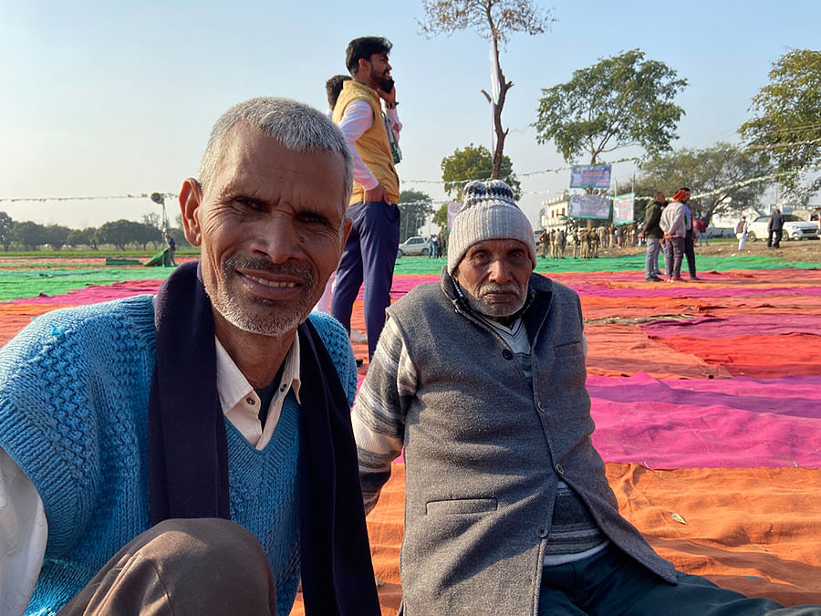 Chhote Singh and Om Pal Singh at the Amroha mahapanchayat.