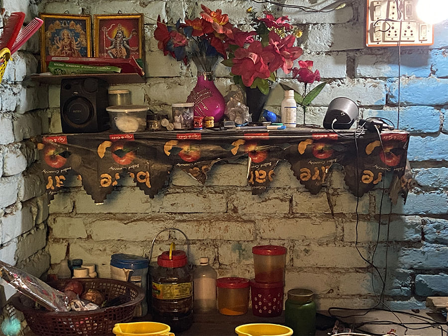 Pictures of Hindu deities in Nagma and Rashid Ali's home.