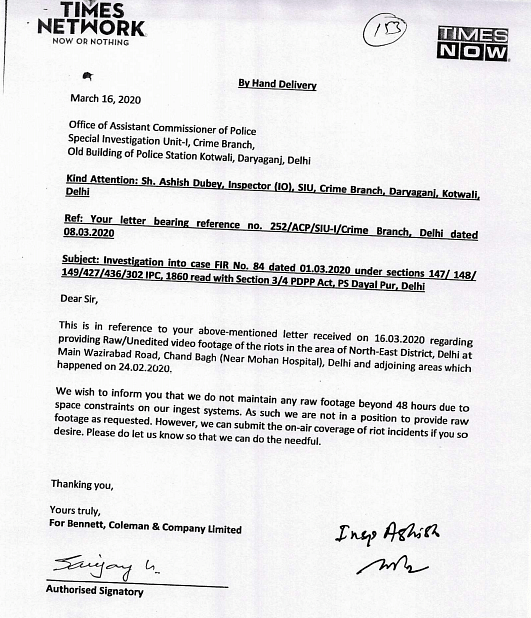The Times Network's reply to the Delhi police.