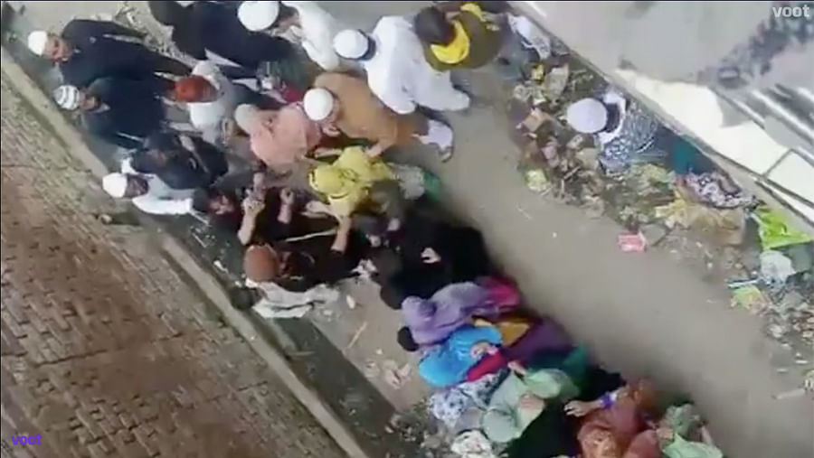 A grab of a video in the film that implies that money was distributed among Muslims during the anti-CAA protests.
