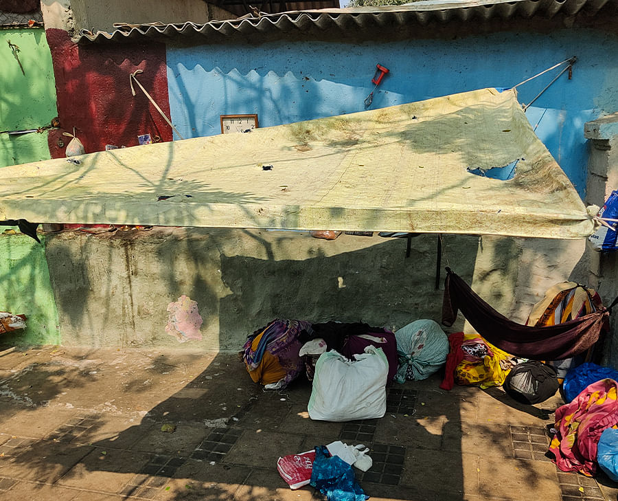 The makeshift home of a family in Worli.