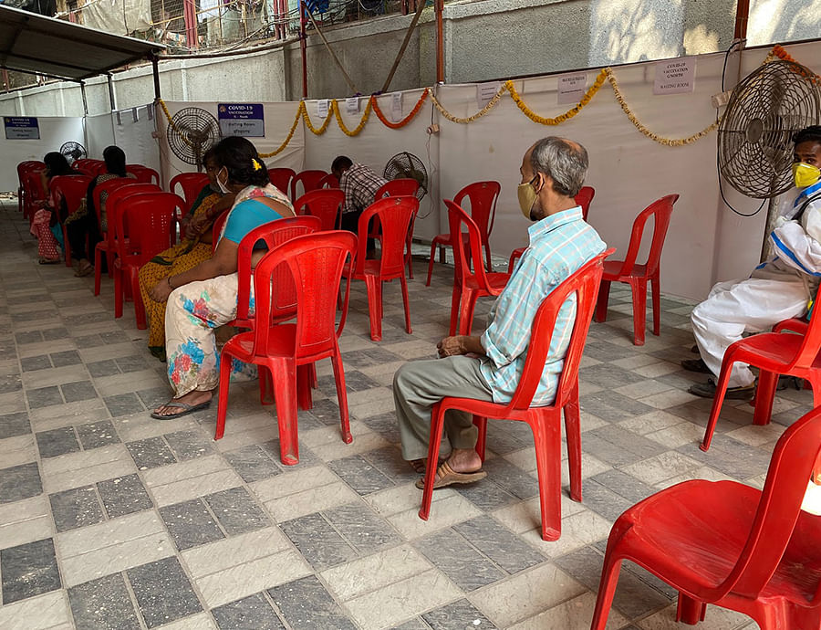 People waiting to be vaccinated at the Dharavi centre.