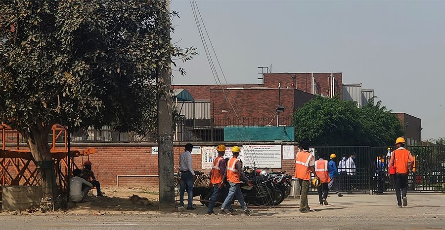 Construction workers at the site.