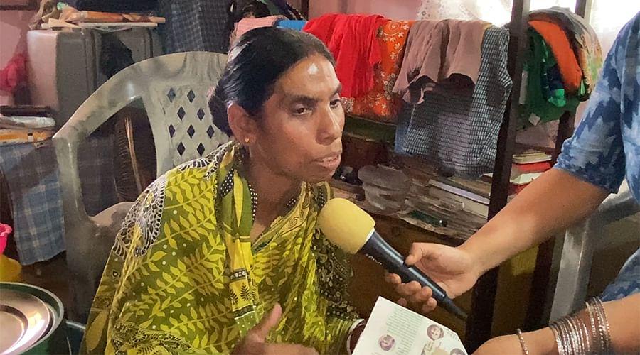 Vishnu Priya Saha at her home.