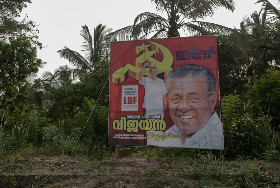 Pinarayi Vijayan's pictures have come up everywhere in Dharmadom.