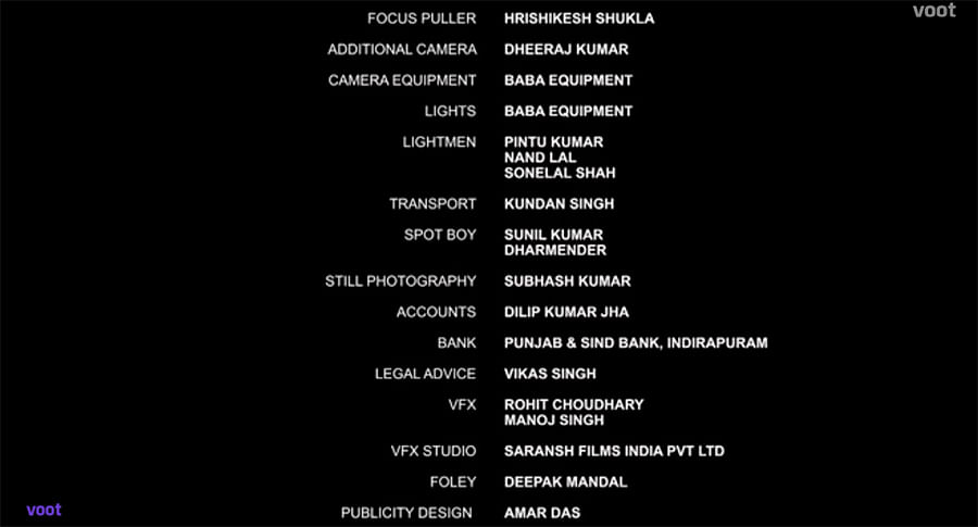 Screengrabs of the credit roll of Delhi Riots: A Tale of Burn and Blame.