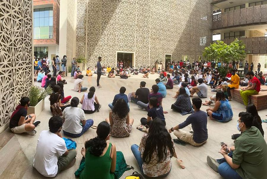 Students sitting on protest.