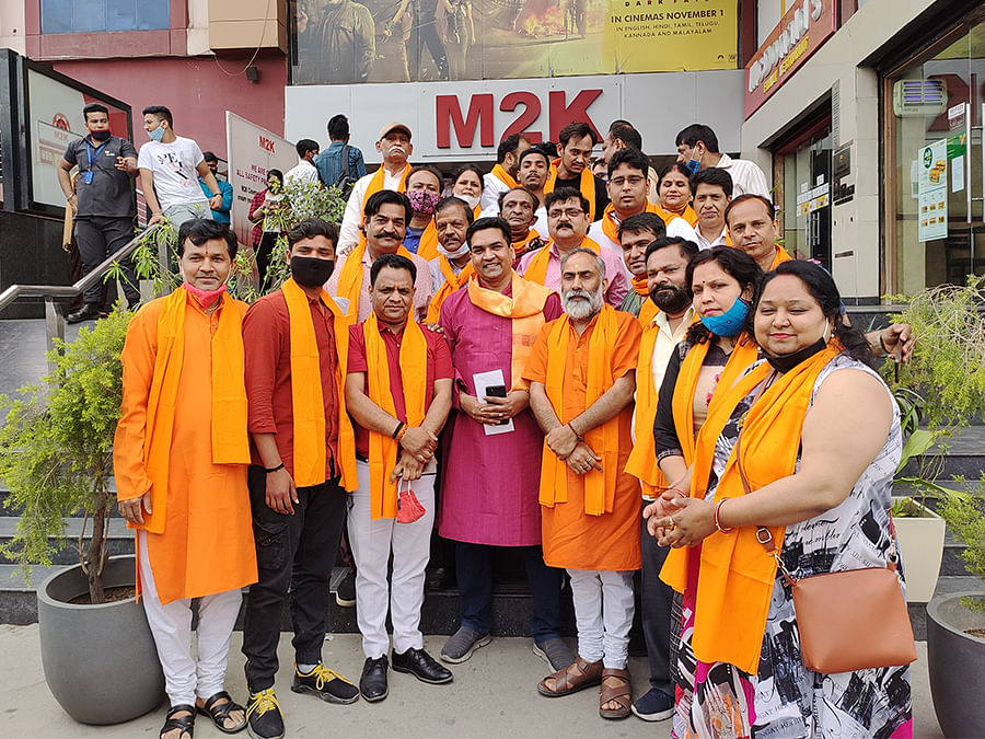 Kapil Mishra and BJP party workers at the screening at Rohini's M2K cinema on Tuesday.