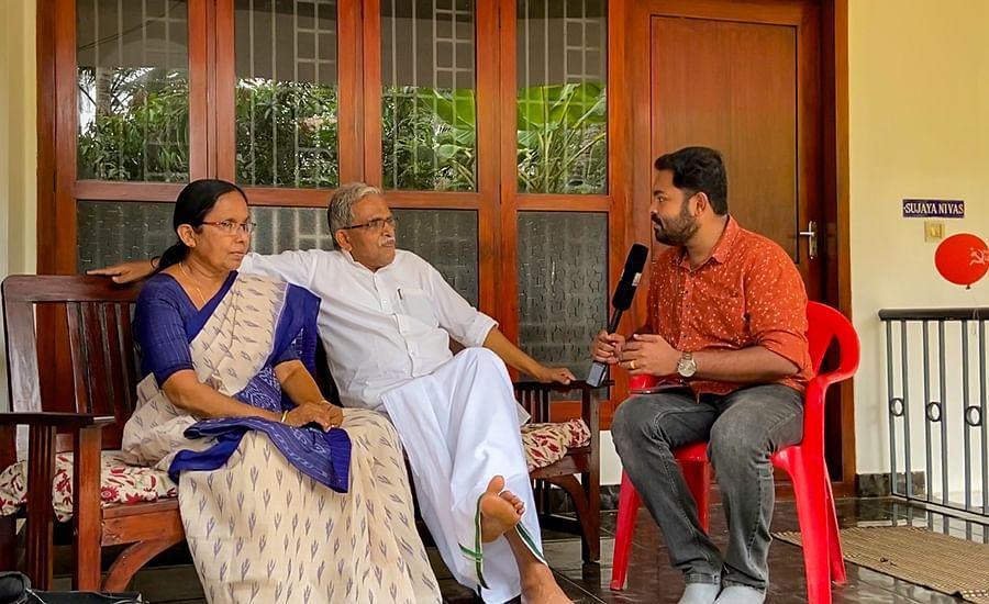 Shailaja and her husband N Bhaskaran interacting with the media.