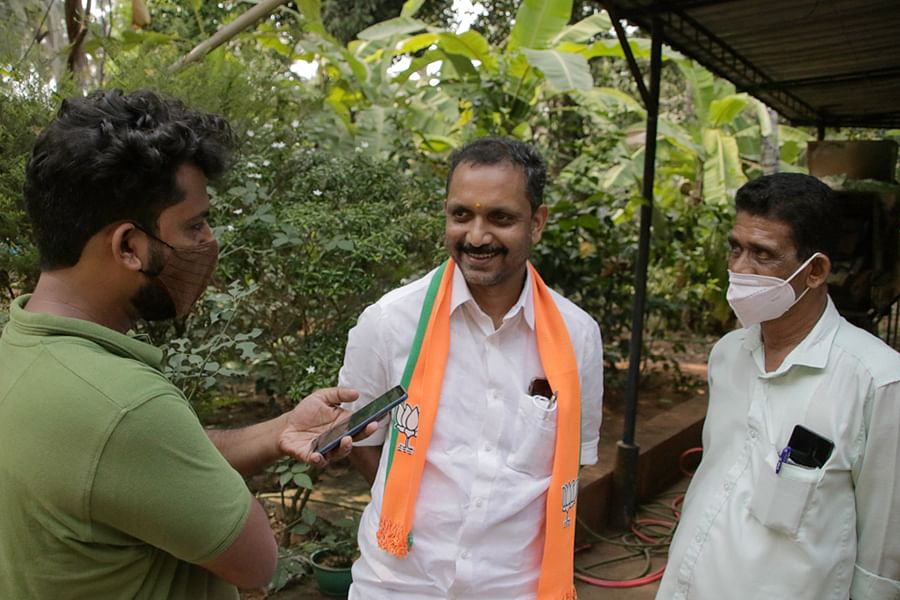 BJP state president K Surendran, centre, who is contesting from Manjeshwaram again.