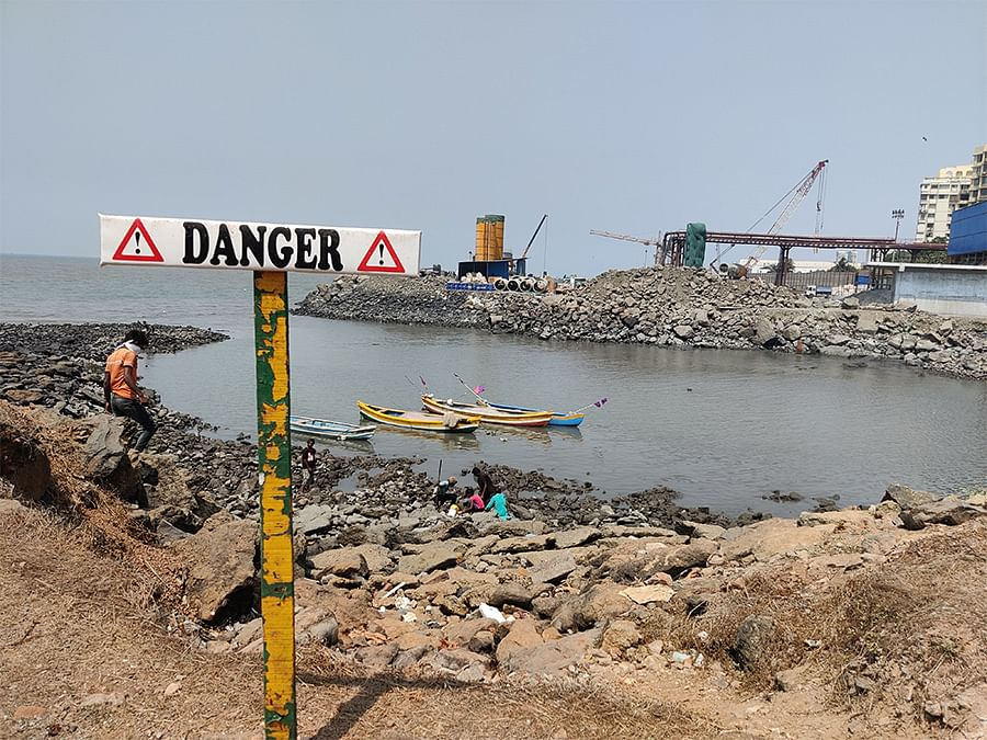Construction work for India's first undersea road tunnel is in full swing at Priyadarshini Park.