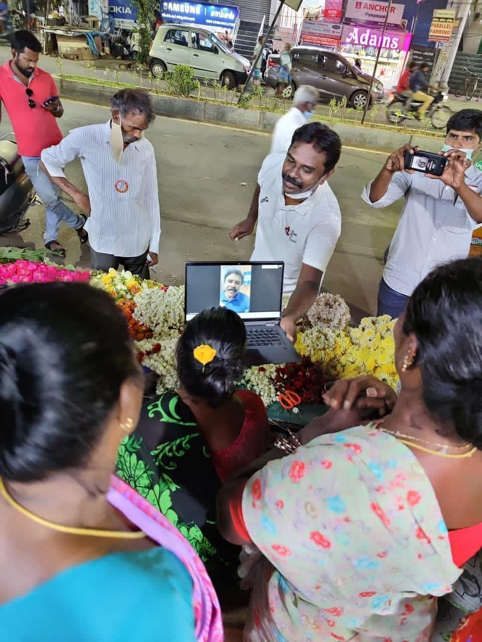 Santosh Babu interacting with voters on Zoom.