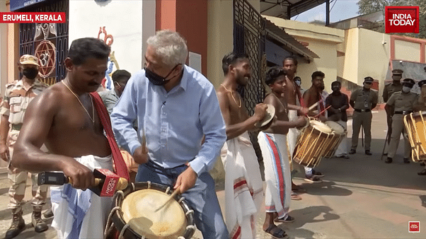 Rajdeep looks at a chenda player for validation that doesn't come.